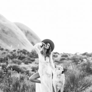 Mormon Rock photoshoot wolfdog model photo